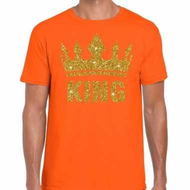 Oranje king gouden glitter kroon t-shirt heren