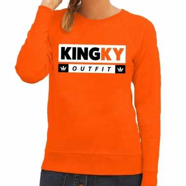 Oranje kingky outfit sweater voor dames