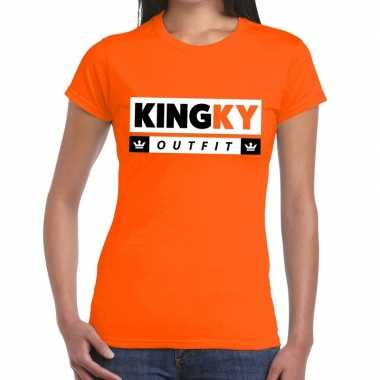 Oranje kingky outfit t-shirt voor dames