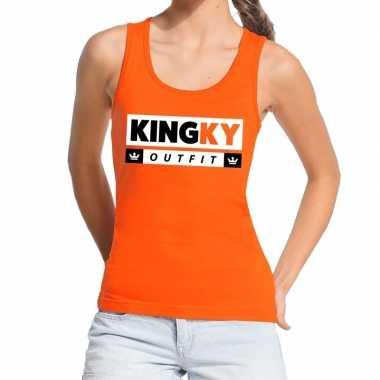 Oranje kingky outfit tanktop / mouwloos shirt voor dames