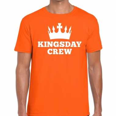 Oranje kingsday crew t-shirt voor heren