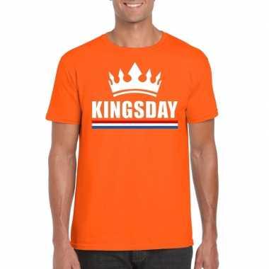 Oranje kingsday met kroon shirt heren