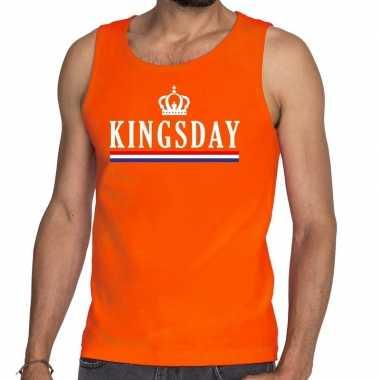 Oranje kingsday met vlag tanktop / mouwloos shirt voor heren