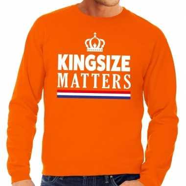 Oranje kingsize matters sweater voor heren