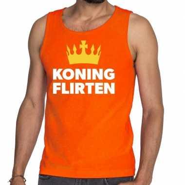 Oranje koning flirten tanktop / mouwloos shirt voor heren