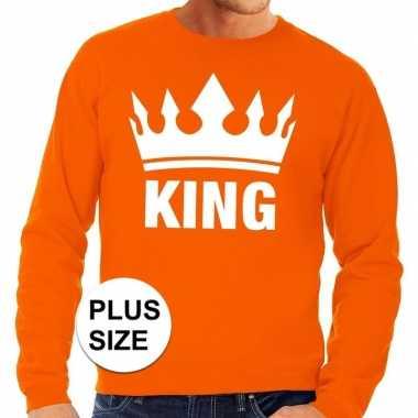 Oranje koningsdag king kroon grote maten sweater / trui heren