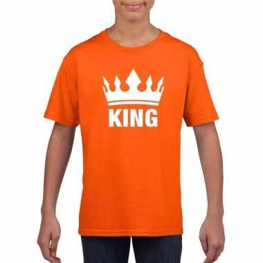 Oranje koningsdag king shirt met kroon jongens