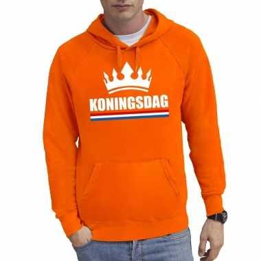 Oranje koningsdag met een kroon hoodie heren