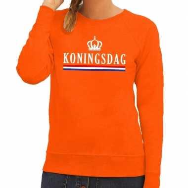 Oranje koningsdag met hollandse vlag sweater voor dames