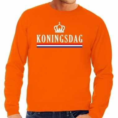Oranje koningsdag sweater voor heren
