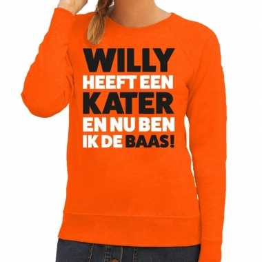 Oranje koningsdag willy heeft een kater sweater dames