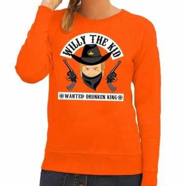 Oranje koningsdag willy the kid sweater dames