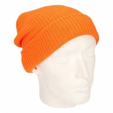 Oranje lange beanie ijsmutsen