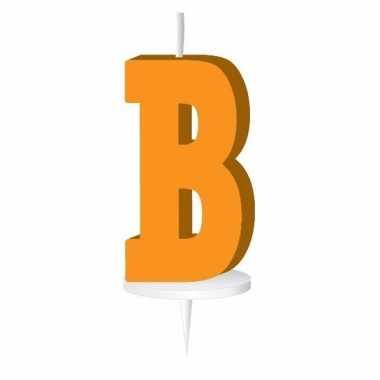 Oranje letter kaars b