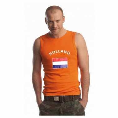 Oranje mouwloos shirt met holland vlag
