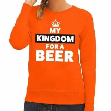 Oranje my kingdom for a beer sweater voor dames