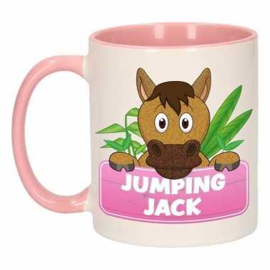 Paarden ontbijtbeker roze / wit voor kinderen 300 ml