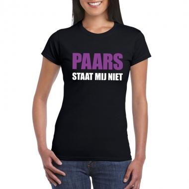 Paars staat mij niet t-shirt zwart dames