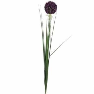 Paarse allium/sierui kunstbloem 80 cm