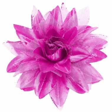Paarse bloem haarversiering met glitters