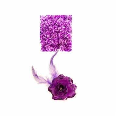 Paarse deco bloem met speld/elastiek