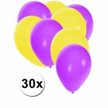 Paarse en gele feestballonnen 30x