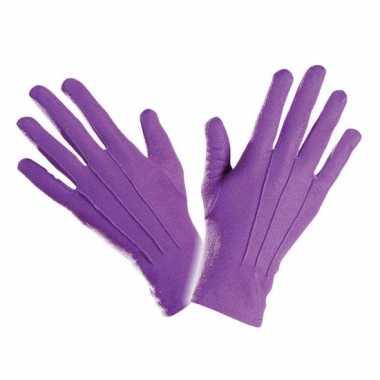 Paarse handschoen kort