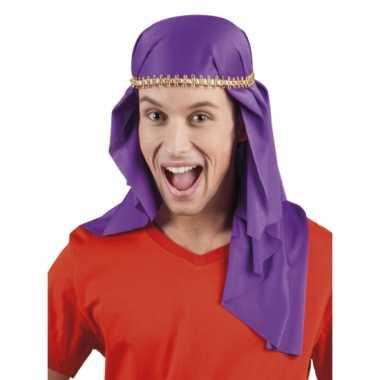 Paarse hoofddoek met gouden randje