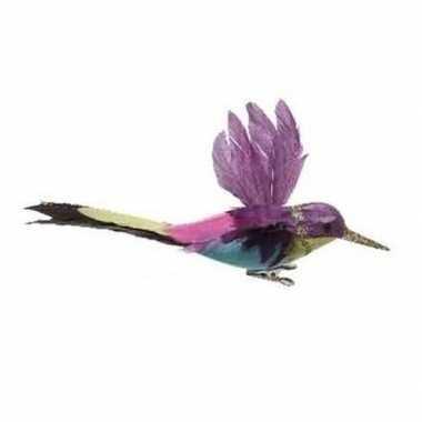 Paarse kolibrie vogel op clip 15 cm decoratie
