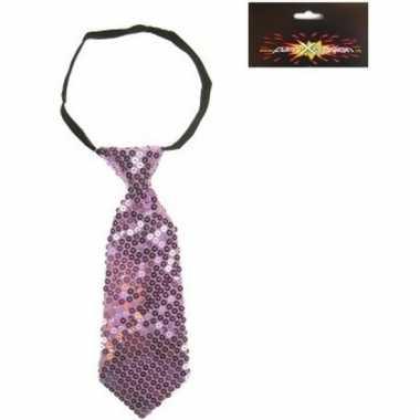 Paarse korte stropdas met pailletten