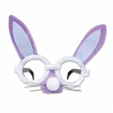 Paarse ronde bunny bril met snuit en oren