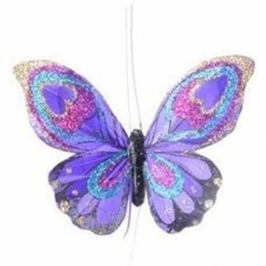 Paarse vlinder kerstversiering hangdecoratie 9 cm