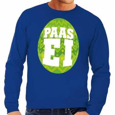 Paas sweater blauw met groen ei voor heren