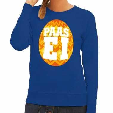 Paas sweater blauw met oranje ei voor dames