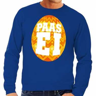 Paas sweater blauw met oranje ei voor heren