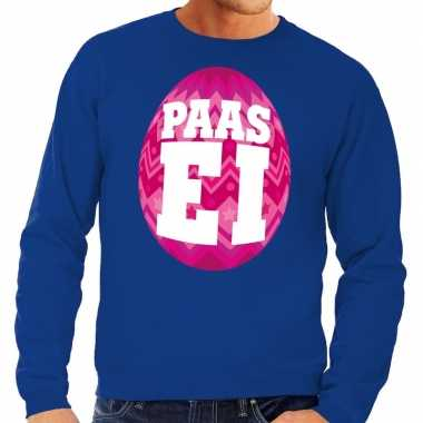Paas sweater blauw met roze ei voor heren