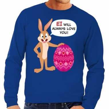 Paas sweater ei will always love you blauw voor heren