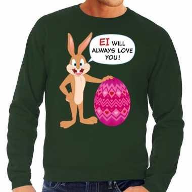 Paas sweater ei will always love you groen voor heren