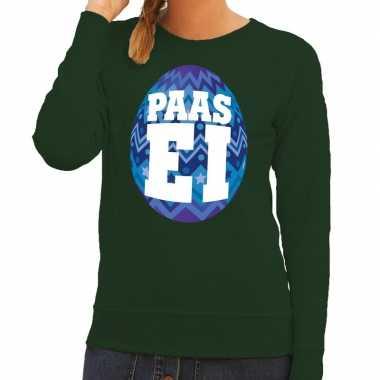 Paas sweater groen met blauw ei voor dames