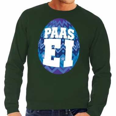 Paas sweater groen met blauw ei voor heren