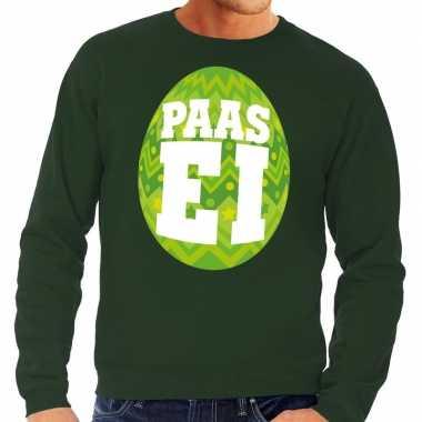 Paas sweater groen met groen ei voor heren