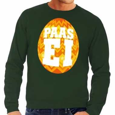 Paas sweater groen met oranje ei voor heren