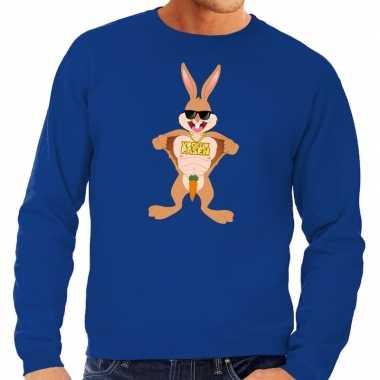 Paas sweater stoere paashaas blauw voor heren