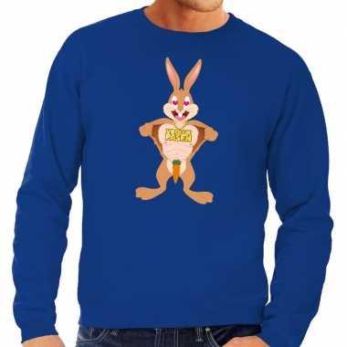 Paas sweater verliefde paashaas blauw voor heren