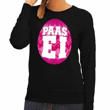Paas sweater zwart met roze ei voor dames