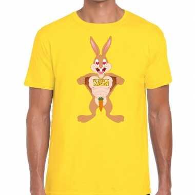 Paas t-shirt verliefde paashaas geel voor heren