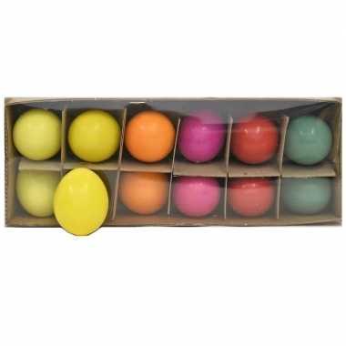 Paasdecoratie kippen eieren gekleurd 12 stuks