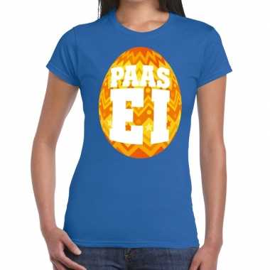 Paasei t-shirt blauw met oranje ei voor dames