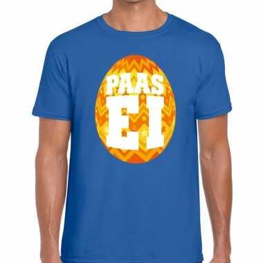 Paasei t-shirt blauw met oranje ei voor heren
