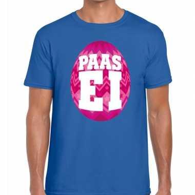 Paasei t-shirt blauw met roze ei voor heren